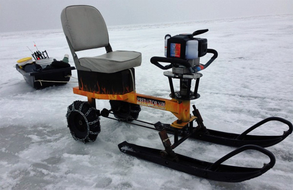 Auger powered sled iced in pickups green or blue for Ice fishing seat